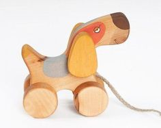 Wooden Toy Reindeer eco-friendly pull toy by FriendlyToys on Etsy
