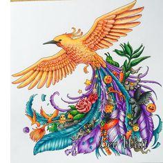 #Animorphia #Phoenix #animorphiacolouringbook #kerbyrosanes #prismacolor…