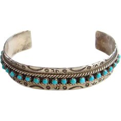 Signed JP Ukestine Native American Zuni Turquoise Cuff Bracelet Sterling Silver Southwestern