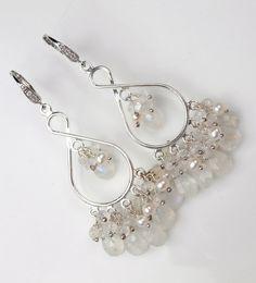 Bridal Jewelry Moonstone Chandelier Earrings Sterling Silver Wire Wrapped Gemstones Blue Flash Luxury Bridal Fashion. $114.50, via Etsy.