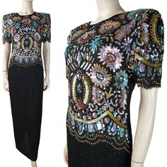 Vintage 1980's Lawrence Kazar Beaded And Sequined Silk Evening Gown