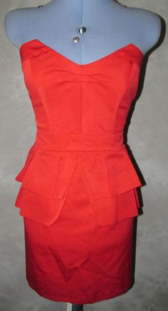 Ladies Formal Cocktail Size 16 Red Dress Knee Length Bandeau Peplum  Bodycon