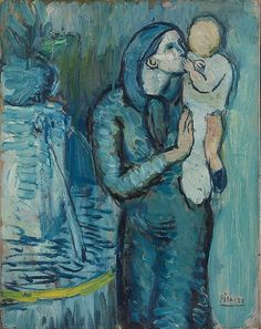 Pablo Picasso (1881-1973), 1901, Mother and Child by a Fountain, oil on canvas.
