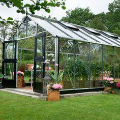 """Serre verre """"Gardener"""" - Aluminium - 21,4 m² - 5,83 x 3,68 x 2,87 m."""