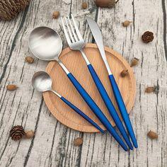 Bulk Luxury Coating18/8 18/10 Silver Blue Stainless Steel Flatware set Stainless Steel Cutlery, Flatware Set, Luxury, Silver, Blue, Cutlery Set, Money