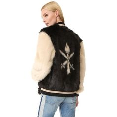 Opening Ceremony Faux Fur Varsity Jacket (49725 RSD) ❤ liked on Polyvore featuring outerwear, jackets, black multi, varsity jacket, bomber jacket, faux fur jacket, varsity style jacket and flight jacket