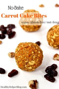 No-Bake Carrot Cake Bites from @Healthy_Helper...vegan, gluten-free, and nut-free bites of carrot cake deliciousness! High carb, low-fat, and great for dessert-like snacking on the go!