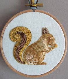 In this kit you can make a cute Squirrel design, embroidered in 3 Metalwork techniques over 3 layers of felt padding. The Squirrel is worked Metalwork, a technique seen throughout history on pieces such as haute couture garments, ceremonial and military dress, and ecclesiastical