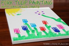 Fork Tulip Painting with Crayola Kids Paints #ColorfulCreations #shop #collectivebias