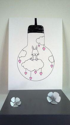 """Affiche Illustration ampoule """" je vole """" lapin sur un nuage : Affiches, illustrations, posters par stefe-reve-en-feutrine"""