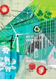 Stock Illustration : Collage of environmental conservation and alternative energy