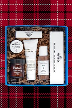 Rescue his chapped lips and skin by giving him this box full of The Motley's most beloved skin care products.  The Motley All-Stars Kit, THE MOTLEY, $48   - Cosmopolitan.com