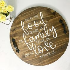 Bless The Food Before Us The Family Beside Us And The Love Between Us Decorative Tray DIY Wood Signs Bless Decorative family Food Love Tray Serving Tray Wood, Wood Tray, Wood Spoon, Serving Board, Vinyl Crafts, Wood Crafts, Bless The Food, Wood Circles, Diy Wood Signs