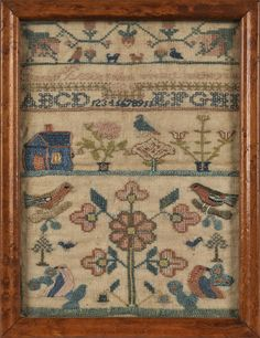 silk on linen sampler, dated 1824, wrought by Sarah Esstle, 10 1/2'' x 7 3/4'' Pook & Pook, Live  Auctioneers