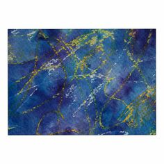 KESS InHouse Cyndi Steen 'Deep Blue' Yellow Abstract Dog Place Mat, 13' x 18' * Unbelievable dog item right here! : Dog food container