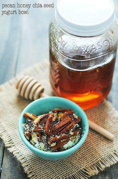 Pecan Honey Chia Seed Yogurt Bowl | www.somethingswanky.com
