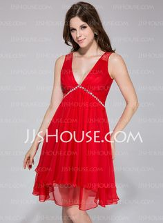Holiday Dresses - $108.99 - A-Line/Princess V-neck Knee-Length Chiffon Tulle Holiday Dress With Ruffle Beading (020037392) http://jjshouse.com/A-Line-Princess-V-Neck-Knee-Length-Chiffon-Tulle-Holiday-Dress-With-Ruffle-Beading-020037392-g37392