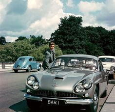 """The Baron"" TV series, England 1966 Steve Forrest as John Mannering , aka ""The Baron"" with his silver Jensen CV-8 Mk II.  Hot Theme!"