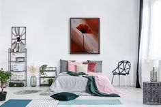 Poppy 2 with Floating Frame Modern red poppies abstract painting. Colorful floral acrylic on canvas artwork. Ready to hang on the wall, MADE TO ORDER. #art #paintings #abstract #acrylic #textured #modern #original #wall #decor #gift #homedecor #palletknife #flowers #poppies #red