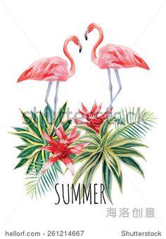 Exótico trópico pájaro del flamenco rosa con hojas de palma y flores de plantas de agave elaborado a mano acuarela de impresión de la flor de moda ilustración vectorial del cartel con el lema de verano -. Enfriar la estación de heroína genuina imágenes, vídeos, música plataforma clip de comercio - Shutterstock socio exclusivo de China - la estación del frío marcas