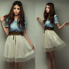 Lady Denim Jean Party Dress Girl Blue Coat White Skirt Top With Belt S Size, unit price of $14.89 only - Yesfor.com