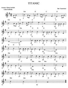 Partitura del Titanic                                                                                                                                                                                 Más Trumpet Sheet Music, Saxophone Sheet Music, Violin Music, Piano Songs, Cello, Easy Sheet Music, Easy Piano Sheet Music, Music Chords, Recorder Music