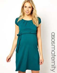 Image 1 of ASOS Maternity Exclusive Kate Dress With Belt And Scoop Neck