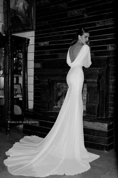 Ultra long back fold wedding gown.