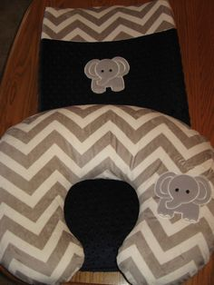 Grey Elephant On Minky Dot and Minky Chevron Changing Pad Cover Matches Nursing or Boppy Pillow Covers on Etsy, $34.00