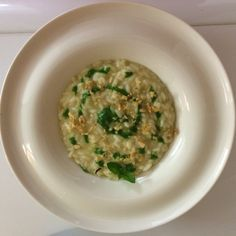 My risotto, tops, nuts and pink salt.