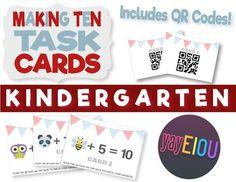 Making Ten - Kindergarten Addition QR Task Cards - CCSS K.OA.4  Keywords: math, centers, task cards, QR codes, common core, kindergarten, 1:1 device, ten frames, addends