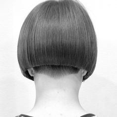 The thickness of her hair is perfect for this close cropped bob haircut