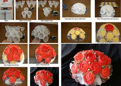 I saw this idea on cakecentral and I decided to share with you. This is a 13 cupcake rose bouquet cupcake tutorial. What you need: glue gun plastic cups stapler cake board, 13 cupcakes buttercream icing wrapping paper Cupcake Bouqet, Cupcake Centerpieces, Cupcake Cakes, Cup Cakes, Diy Cupcake, Cupcake Ideas, Cupcake Icing, Sweets Cake, Centerpiece Ideas