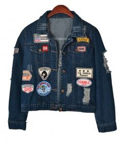 Distressed Denim Jacket with Patch Detail