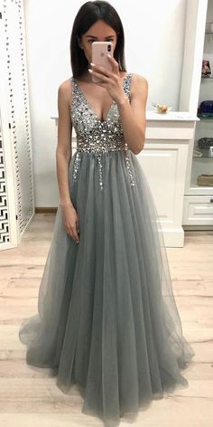 kleider Long Prom Dress With Beading Graduation Dress Custom-made Scho. kleider Long Prom Dress With Beading Graduation Dress Custom-made School Dance Dress Grey Prom Dress, Tulle Prom Dress, Homecoming Dresses, Prom Gowns, Graduation Dresses Long, Mermaid Dresses, Ball Gowns, Evening Dress Long, Evening Party