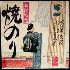 Japanese mail Art @Tony Mazzocchin Geisha, Love Collage, Collage Book, Art Postal, Postage Stamp Design, Decorated Envelopes, Envelope Art, Book Layout, Letter Art