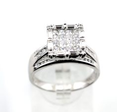 """Silver 925 cz Cocktail Ring size10 6.1g marked as """"K"""" SC. #K #Cocktail"""