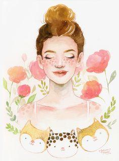 Rolou escambo de uma ilustração em aquarela por um vasinho de cerâmica da Miriam Brugmann. Vem ver mais dessa troquinha artística! ♥