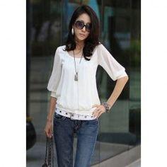 Elegant Scoop Neck Elastic Hem Cotton Splicing Pleated Chiffon Blouse for Women