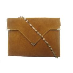 Solomon Appollo Temple Gold Suede Clutch Bag In Mustard ($141) ❤ liked on Polyvore