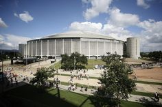 """The Best Plan Yet to Save Houston's Astrodome -  Let's turn the """"world's biggest room"""" into an indoor park, with trees, flowering plants, and an aquaponics research lab.- Comment made: the glare from the skylights made baseballs uncatchable. Then they painted over the skylights, and that's what killed the grass. I'd love to see the skylights as they were originally put in there."""