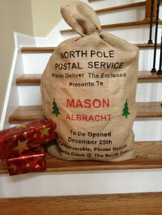 Burlap Santa Bag, Santa Sack, North Pole Bag,  Personalized for Christmas, North Pole Postal Service with Christmas Trees