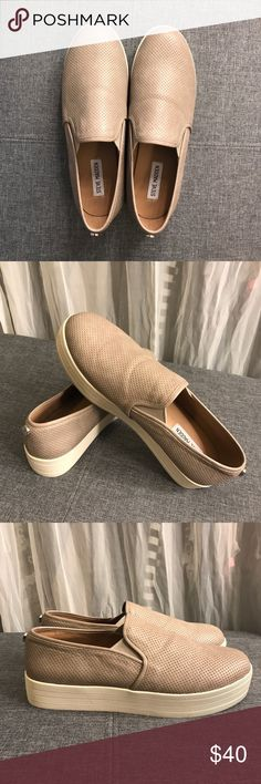 "Steve Madden Bouunce Slip-On Platform Sneaker Worn once, like new.  - Perforated detail throughout - 1 3/8"" platform Steve Madden Shoes Sneakers"