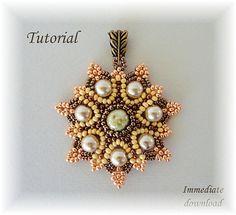 PDF for beadwoven pendant beading tutorial - beadweaving beading pattern beaded seed bead jewelry - SUN FLARES