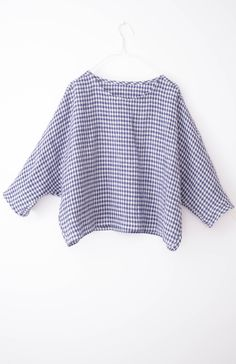 15277ab4815b SIMPLEWEAR Collection by Nadinoo Gingham Linen Blue white check Loose Easy  wear style batwing sleeve