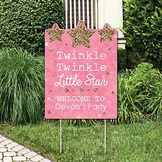 Pink Twinkle Twinkle Little Star - Party Decorations - Birthday Party or Baby Shower Personalized Welcome Yard Sign | BigDotOfHappiness.com