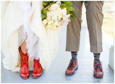 Awesome red cowboy boots for the bride. Love it! #westernwedding #countrywedding #bride