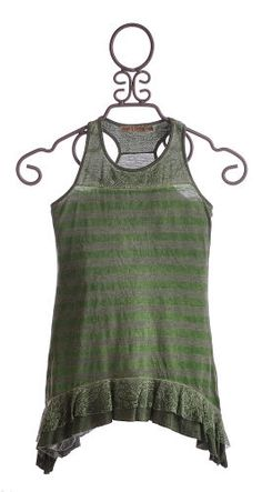Would be cute knitted up: Gypsy Daisy Tween Girls Tank Sage with Shark Bite Hem $14.99