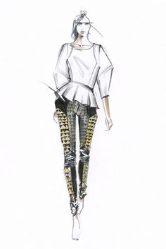 Fashion illustration - fashion sketch for Rebecca Minkoff