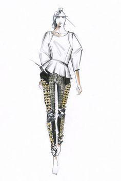 Fashion illustration - fashion sketch for Rebecca Minkoff